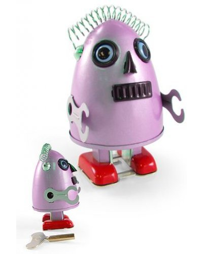 Egg Head Alien Pink Robot Tin Toy