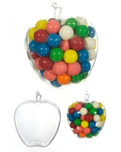 Apple Ornament Clear Plastic Candy Jar