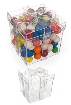 Gift Box Clear Candy Jar