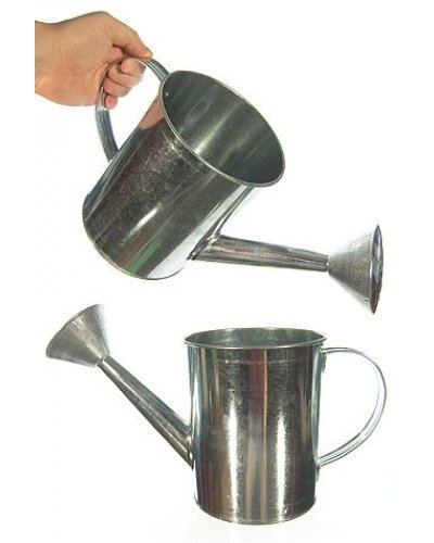 Silver Tin Watering Can Vintage Pail