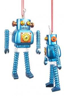 Blue Robot Ornament Retro Springy