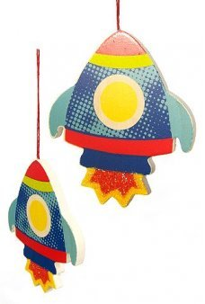Blast Off Rocket Glitter Flat Ornament