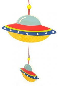 UFO Saucer Flat Ornament Glitter