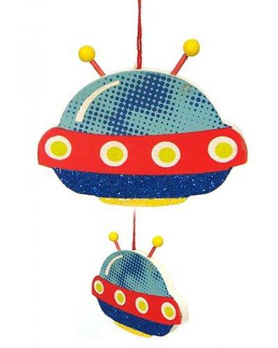 UFO Antennae Flat Ornament Glitter