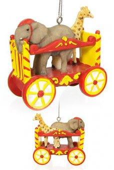 Elephant Giraffe Circus Train Ornament