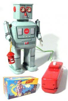 Lantern Robot Battery Tin Toy