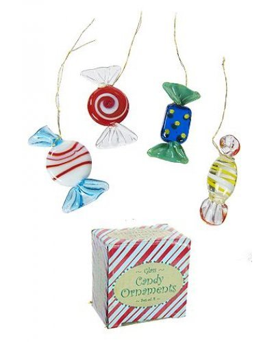 Christmas Candy Glass Ornaments Set
