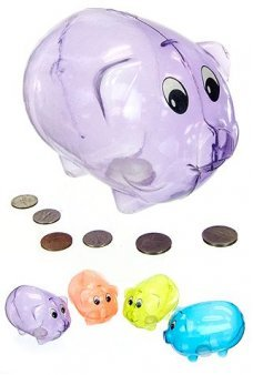 Piggy Bank Purple Plastic Classic