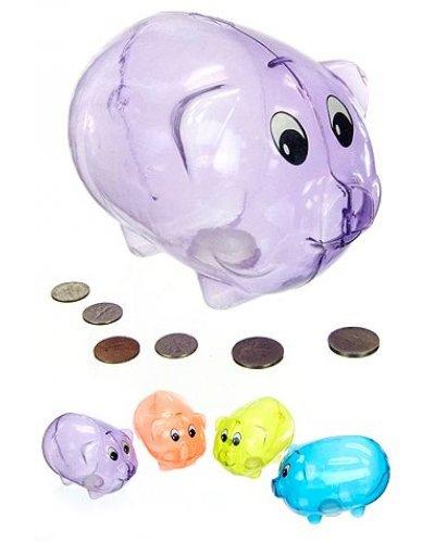 Piggy Bank Purple Plastic Classic