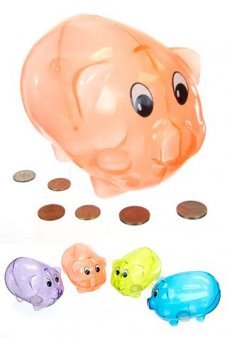 Piggy Bank Orange Plastic Classic