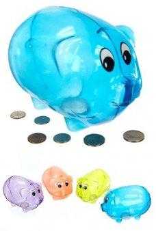 Piggy Bank Blue Plastic Classic