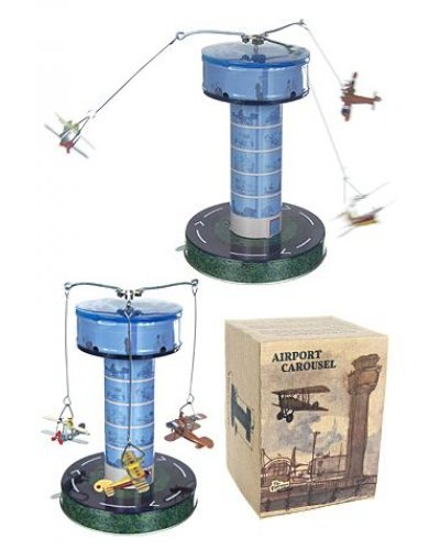 Airport Carousel 3 Biplanes Tin Tower