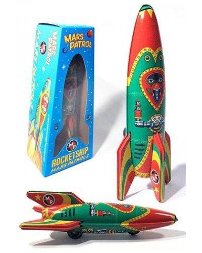 Red and Green Mars Patrol Rocketship