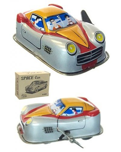 Space Race Car Tin Toy Turns Corners
