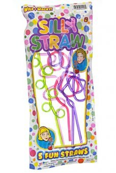 Silly Straws Drinking Colors Party Set of 5