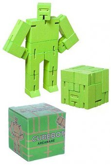 CubeBot Micro Green Wooden Robot