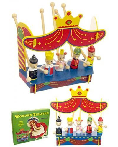 King Queen Wood Puppet Theater Toy Set