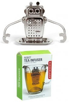 Robot Tea Infuser Shiny Silver Steel