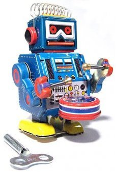 Blue Robot Band Drummer Windup Tin Toy