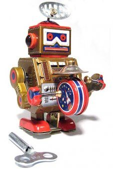 Gold Robot Band Cymbals Windup Tin Toy