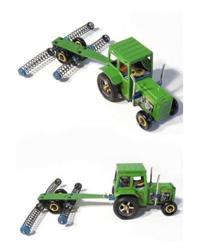 Green Tractor with Combine Harvester