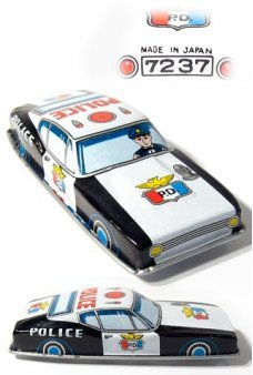 Japanese Police Car Vintage Tin Toy