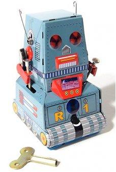 Robot Tank R1 Mini Wind Up Tin Toy