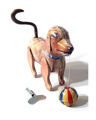 Jolly Bruno Puppy and Ball Tin Toy