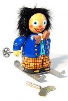 Happy Holiday Skier Wind Up Tin Toy