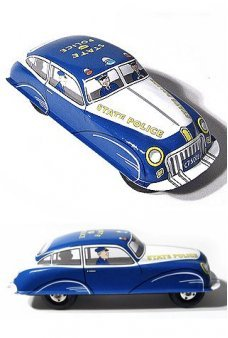 State Police Car Blue Friction Tin Toy