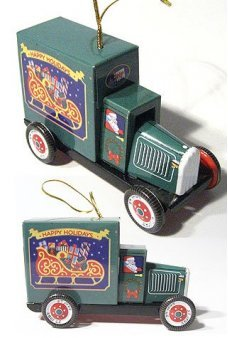 Santa's Truck Green Ornament