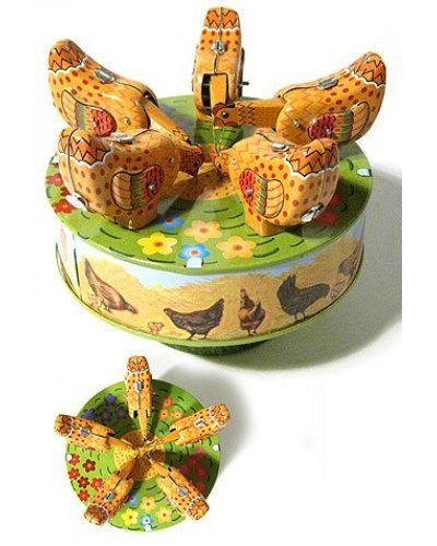 Pecking Chickens Carousel Tin Toy
