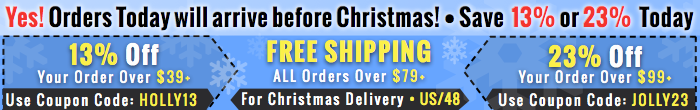 Christmas Sale! Save 13% or 23% + Free Shipping Offers