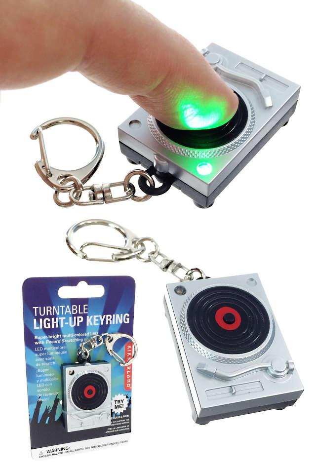 Turntable Keyring Light-up LED Sound : Metal Keychain Kikkerland