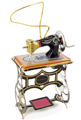 Sewing Machine Ornament : Tin Toy Vintage 1850 : Classic Christmas Tree : Singer Sew Clothing